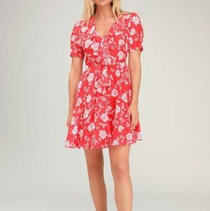 Ximena Coral Red Floral Print Ruffled Short Sleeve
